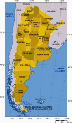 Map of Argentina's Provinces, including a brief overview of each one.