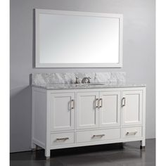 @Overstock - Marble Top 60-inch Single Sink White Bathroom Vanity with Matching Framed Mirror - Featuring a clean design and white solid oak wood cabinetry with soft-closing doors and drawers, this transitional bathroom vanity will add refinement to your bathroom. The marble counter top and included backsplash accent the white finish ...