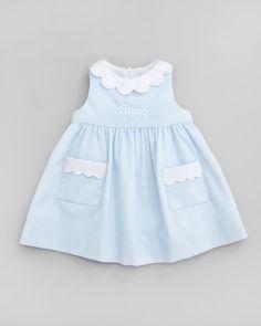 Florence Eiseman Monogrammed Scalloped Pincord Dress, Light Blue, 12-24 Months