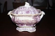 Early Purple Transferware Tureen with Lid