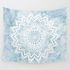 Light Blue Mandala Savanah Wall Hanging Tapestry by Nika - Small: x