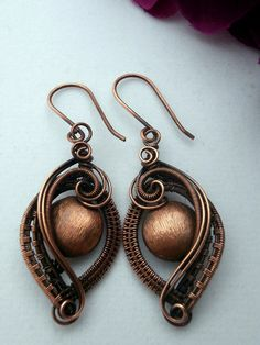 SOLD! Wire Wrapped Earrings Copper on Copper by PerfectlyTwisted on Etsy