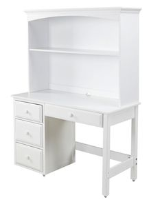 White desk with hutch. Perfect for a little girl or boy's room. www.maxtrixkids.com #BacktoSchool
