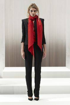 BLACK VEILED RAFFIA CARDIGAN JACKET RED WASHED SILK TAFFETA TIE BLOUSE BLACK SCUBA LACE UP PANT | WES GORDONSPRING 2013 COLLECTION