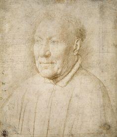 Jan van Eyck, Portrait of Cardinal Niccolò Albergati, Silverpoint Jan Van Eyck, Renaissance Kunst, Renaissance Artists, History Images, Art History, Robert Campin, Silverpoint, Google Art Project, Dibujo