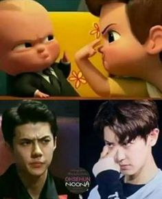 Lol exo oh sehun funny meme Kpop Exo, Chanyeol Baekhyun, Exo K, Park Chanyeol, Exo Memes Funny, Funny Baby Jokes, Funny Babies, Kaisoo, Exo Ot12