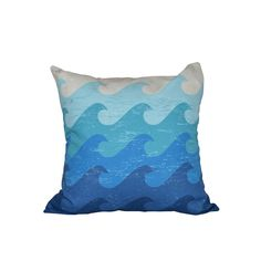 null 16 in. x 16 in. Blue Deep Sea Geometric Print Pillow