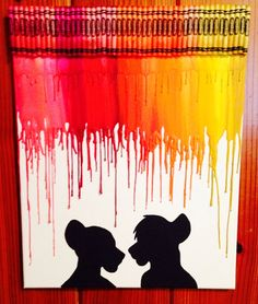 Simba and Nala melted crayon art by OnceUponACrayon on Etsy, $35.00