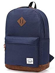 1c2fbb05f Vaschy School Backpacks for Adults Classic Lightweight Water Resistant  Campus Rucksack Travel Backpack Blue Fits 14 Inch Laptop