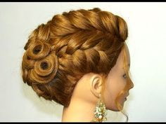 Bridal hairstyle for medium long hair. Updo with braids tutorial - YouTube