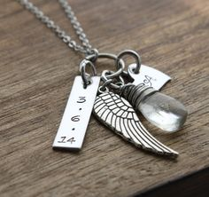 Remembrance Necklace Memorial Necklace Forever in My Heart Infant loss Necklace… Angel Wings Jewelry, Girlfriend Anniversary Gifts, Memorial Jewelry, Bar Necklace, Wing Necklace, Hand Stamped Jewelry, Personalized Necklace, Metal Jewelry, Jewelry Crafts