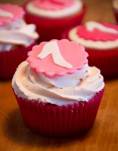 Pink strawberry cupcakes with shoes (September 2012)