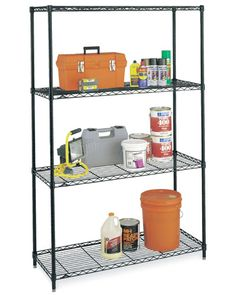Large InterMetro Four-Shelf Unit - Black Image  Just when you think you ran out of space think again. Shelves are here to rescue you. A good shelving system will work perfect for small or big spaces. By adding shelves, you can double your apace by going vertical and make things more easily accessible in an organized manner.  Perfect for: basement, garage, storage, kitchen, attic  Benefits: Easy to assemble, strong, versatile,