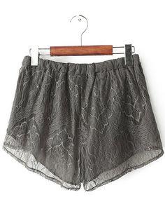 Grey Drawstring Waist Lace Shorts EUR€15.93