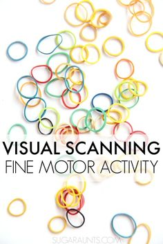 Visual Scanning Activity for fine motor skills and visual scanning in so many functional tasks like reading, word searches, puzzles. This visual motor activity creates a fidget toy to help sensory seekers with fidgeting, too. Visual Motor Activities, Visual Perceptual Activities, Fine Motor Activities For Kids, Learning Activities, Visual Learning, Sensory Activities, Occupational Therapy Activities, Vision Therapy, Gross Motor Skills