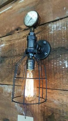 Vintage industrial barn wood wall sconce, light or lamp. Made in the USA from Re-purposed MN barn wood. Modern Wall Sconces, Candle Wall Sconces, Wall Sconce Lighting, Industrial Style Lamps, Industrial Wall Lights, Industrial Table, Industrial Furniture, Vintage Industrial, Wireless Wall Sconce