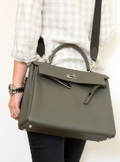 Vert de Gris Kelly with black strap crossbody