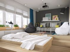 Espacio de almacenaje bajo el suelo. cama oculta. Cama extra. #trucosdelhogar #tipsdedecoracion One Room Apartment, Small Apartment Bedrooms, Small Apartment Design, Apartment Ideas, Small Apartments, Small Spaces, Scandinavian Apartment, Scandinavian Style, House Design
