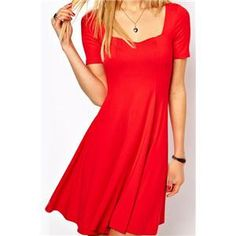 Square Neck Short-sleeved Pleated Red Dress #pariscoming your personal style online store. like it? buy now.
