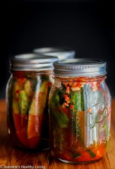 Spicy Korean Cucumber Kimchi Refrigerator Pickles - spicy and a little sour, these pickles are easy to make - ferment for one day, then refrigerate them