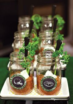 Chili in jars for Super Bowl party #superbowl