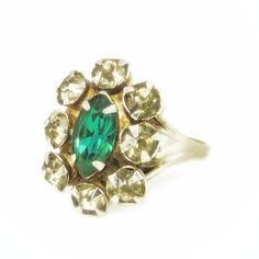 New to VintageVegasGems on Etsy: Green and Clear Rhinestone Silver Tone Adjustable Cluster Ring (16.00 USD)