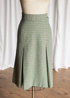 Bantry Girls skirt | vintage 60s skirt | green houndstooth wool skirt | vintage wool skirt | 60s midi skirt