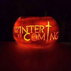 Game of Thrones pumpkin carving. Winter is Coming