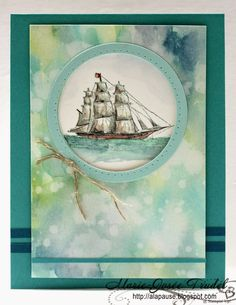A Break: It Was A Small Ship ... The Open Sea, Cards: Whisper White, Watercolor, Bermuda Bay, Pool Party, Indigo Islands, Etampe: The Open Sea Inks: Indigo Islands, Bermuda Bay, Pool Party, Wild Wasabi, Cajun Craze, Couleurt Café, Brown Dune Punches: Framelits Circles Other: Drilling tool paper, linen thread, Aquapainter
