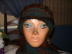 Crocheted Mult-Color Variegated   Women Accessorie Scarf & Benie Hat  Handmade  #Handmade #LongScarfHatBenie