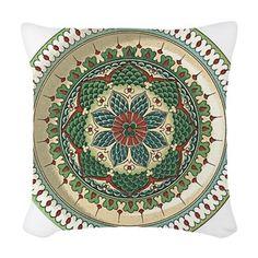 Unique Vintage Flower Plate Woven Throw Pillow
