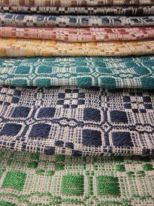 overshot weaving in a rainbow of colors!