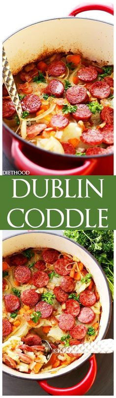 Dublin Coddle Recipe - An easy to make delicious and hearty traditional Irish winter stew with potatoes, sausages, and bacon. Dublin Coddle Recipe - An easy to make delicious and hearty traditional Irish winter stew with potatoes, sausages, and bacon. Sausage Recipes, Pork Recipes, Cooking Recipes, Cake Recipes, Drink Recipes, Vegan Recipes, Winter Stew Recipe, Winter Recipes, Gastronomia