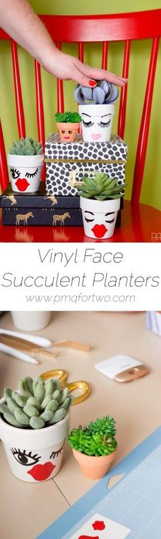 Vinyl Face Succulent Planters | PMQ For Two - Featured at the Home Matters Linky Party 120