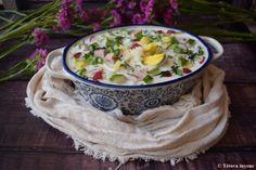 Okroshka-az oroszok hideg levese   Tétova ínyenc Chilled Soup, Gazpacho, Kefir, Camembert Cheese, Dairy, Soups, Food, Essen, Soup