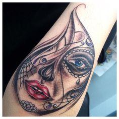 day of the dead Teardrop Tattoo, Shape Tattoo, How Many People, Sugar Skull, Tattos, Hustle, Skulls, Tattoo Designs, Roses