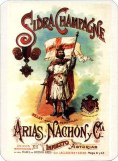 Antiguo anuncio de la sidra champagne de ARIAS, NACHÓN Y COMPAÑÍA, de Infiesto