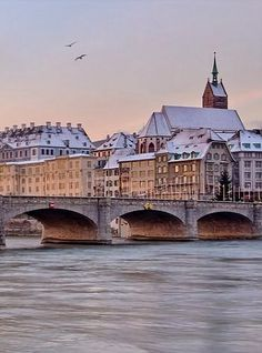One winter morning. Top Travel Destinations, Travel Europe, Basel, Switzerland In Winter, French Buildings, Central Europe, Winter Travel, Far Away, Scorpio