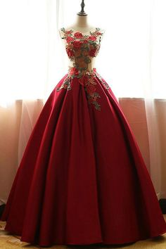 Prom Dress Princess, Red chiffon satins rose applique round neck A-line long prom dresses,ball gown dresses Shop ball gown prom dresses and gowns and become a princess on prom night. prom ball gowns in every size, from juniors to plus size. Red Ball Gowns, Ball Gowns Prom, Ball Gown Dresses, Dresses Dresses, Dresses 2016, Formal Dresses, Long Red Dresses, Dance Dresses, Elegant Dresses