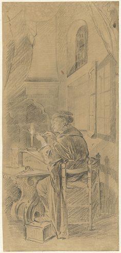 Willem Joseph Laquy: pennensnijder. Tekening. ca. 1765 - ca. 1770. Uit Drieluik met allegorie op het kunstonderwijs. Rijksmuseum, Amsterdam. Naar het drieluik van Gerard Dou dat in 1771 verloren is gegaan.