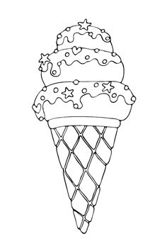 Ice Cream Coloring Pages, Easy Coloring Pages, Coloring Books, Ice Cream Cartoon, Ice Cream Pictures, Sheet Music Pdf, Retro Cartoons, Shark Party, Outline Drawings