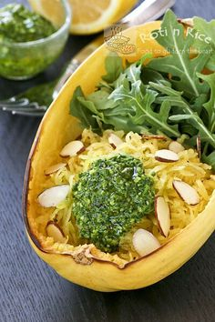 Spaghetti Squash with Arugula Pesto