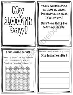 My 100th Day Mini Booklet from Pioneer Teacher on TeachersNotebook.com -  (4 pages)  - Count to 100, make $1.00, write words, and more with this 100th Day booklet!