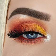 orange makeup looks spyonmyeye working with Playhouse Eyeshadow Palette and wearing Nottinghill Eyelashes Makeup Eye Looks, Eye Makeup Art, Halloween Makeup Looks, Eyeshadow Makeup, Eyeshadow Palette, Eyeshadow Ideas, Natural Eyeshadow, Natural Makeup, Easy Eyeshadow