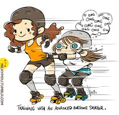 training with an advanced skater