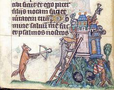 Animals besieging a castle    London BL - Stowe 17 f. 244