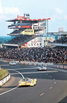 Two Porsche 917s hunting their prey during the 1971 24 hours of Le Mans.