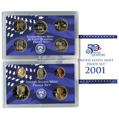 2001-S 10-Coin Proof Set including 5 State Quarters