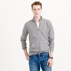 Cotton-cashmere zip sweater-jacket : cotton-cashmere | J.Crew
