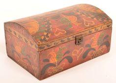 19th Century Softwood Dome Lid Box. Paint decorated by David Ellinger, 1941